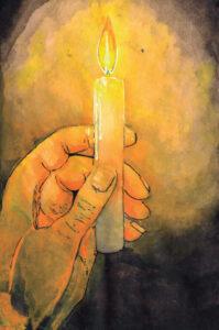 Ilustração exibe uma mão segurando uma vela acesa